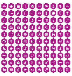 100 toys for kids icons hexagon violet vector