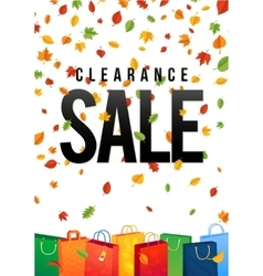 Sale poster with percent discount oak colorful vector