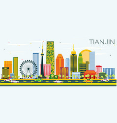 Tianjin skyline with color buildings and blue sky vector