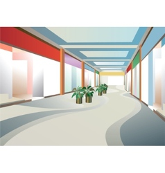 Corridor in mall with windows vector