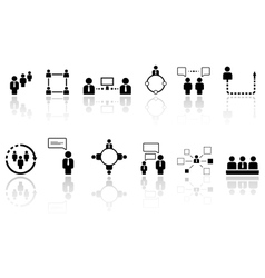 Human resource icons with reflection vector
