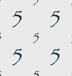Number five icon sign seamless abstract background vector