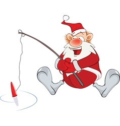 Cute santa claus fisherman vector