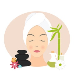 Flat design of a woman with towel in spa vector