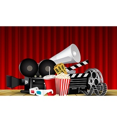 Red curtain cinema films and popcorn on the stage vector