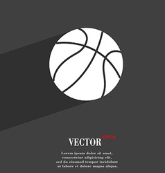 Basketball symbol flat modern web design with long vector