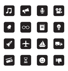 Black flat transport and miscellaneous icon set vector