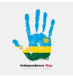 Handprint with the flag of rwanda in grunge style vector