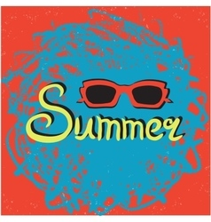 Bright summer card poster with sunglasses vector