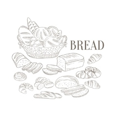 Bread basket and other bakery products hand drawn vector