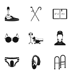 Assistance for disabled icons set simple style vector