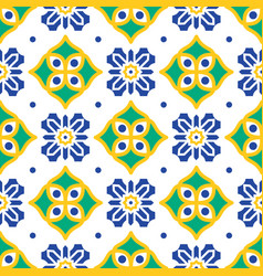 blue and green mediterranean seamless tile pattern vector image