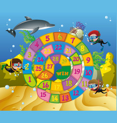 Boardgame template with kids and dolphin vector