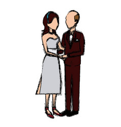 Bride and groom embracing affection wedding image vector