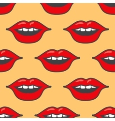 Bright red lips seamless pattern vector