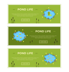 cartoon garden pond advertisment banners vector image