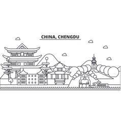 china chengdu architecture line skyline vector image