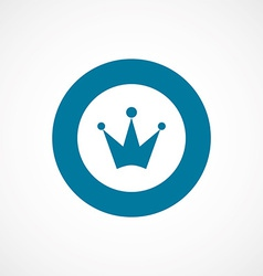 Crown bold blue border circle icon vector