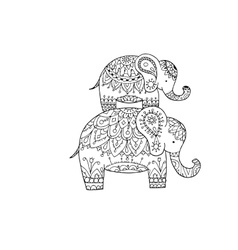 Elephant ornate sketch for your design vector