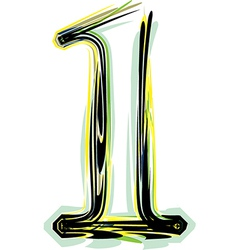 Font NUMBER 1 vector image vector image
