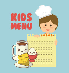 Kids menu boy ingredients food vector
