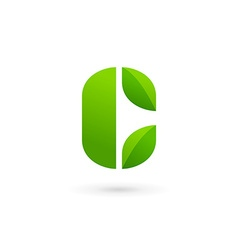 Letter c eco leaves logo icon design template vector