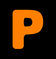 Letter p sign design template element orange icon vector