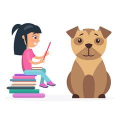 Little girl reads from tablet beside huge dog vector