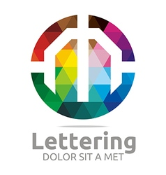 Logo Abstract Lettering M Rainbow Alphabet Icon vector image vector image