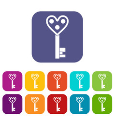 Love key icons set flat vector