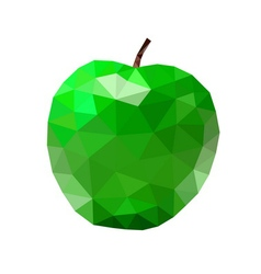 Low poly apple icon green vector image