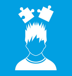 Man with puzzles over head icon white vector