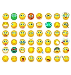 Mega big collection set of Emoji face emotion vector image vector image