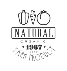 Natural organic farm product estd 1967 logo black vector