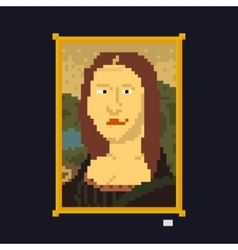 Pixel art style drawing lady masterpiece vector