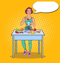 Pop art woman making smoothie in blender vector