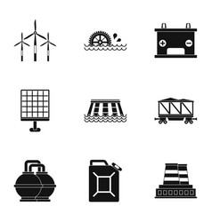 Power generation icon set simple style vector