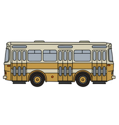 Retro yellow city bus vector