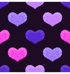 Seamless pattern with low poly hearts vector image vector image