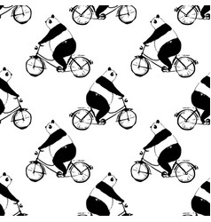 Seamless pattern with panda bear on bicycle vector
