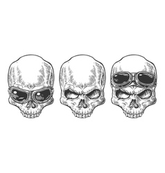Skull with glasses for motorcycle vector image