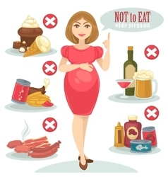 Unhealthy food for pregnant woman vector