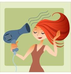 Woman dries hair vector