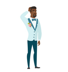 young african-american groom scratching his head vector image