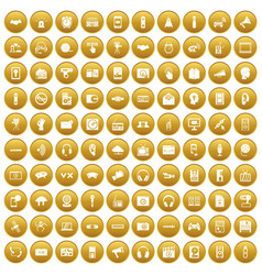 100 audio icons set gold vector