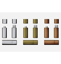 Metallic set micro usb and usb flash drive vector