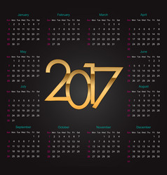 Gold 2017 luxury editable calendar vector