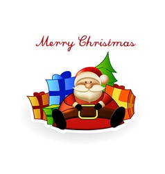 Sitting Santa with present boxes and Christmas vector image