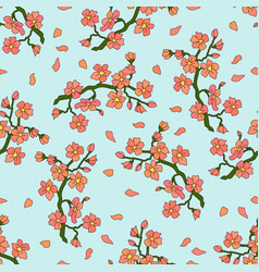 Gentle branch of cherry blossoms vector