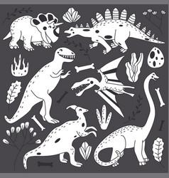 Doodle line cute dinosaurs set vector